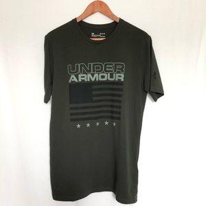 Under Armour Green American Flag T Shirt
